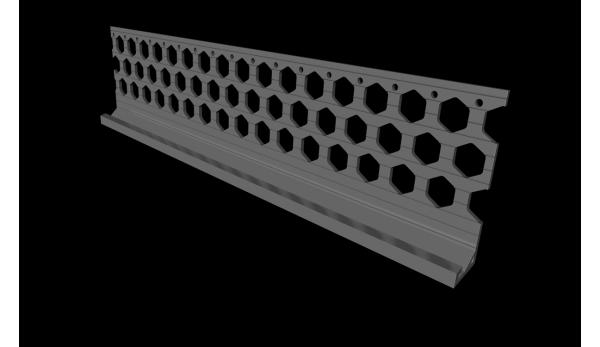 3.0m 15mm slate grey PVC wide wing bellcast bead