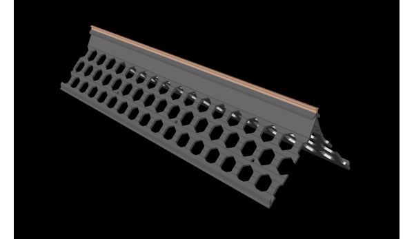 3.0m 15mm brick red PVC wide wing corner bead